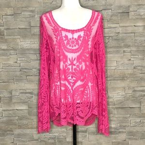 Pink sheer embroidered top